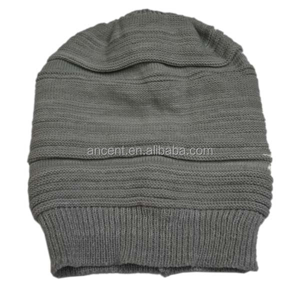 Solid Color Acrylic Custom Wrinkle Knitted Hats Hot Sell For Stores/Bulk Beanie Hats WholeSale