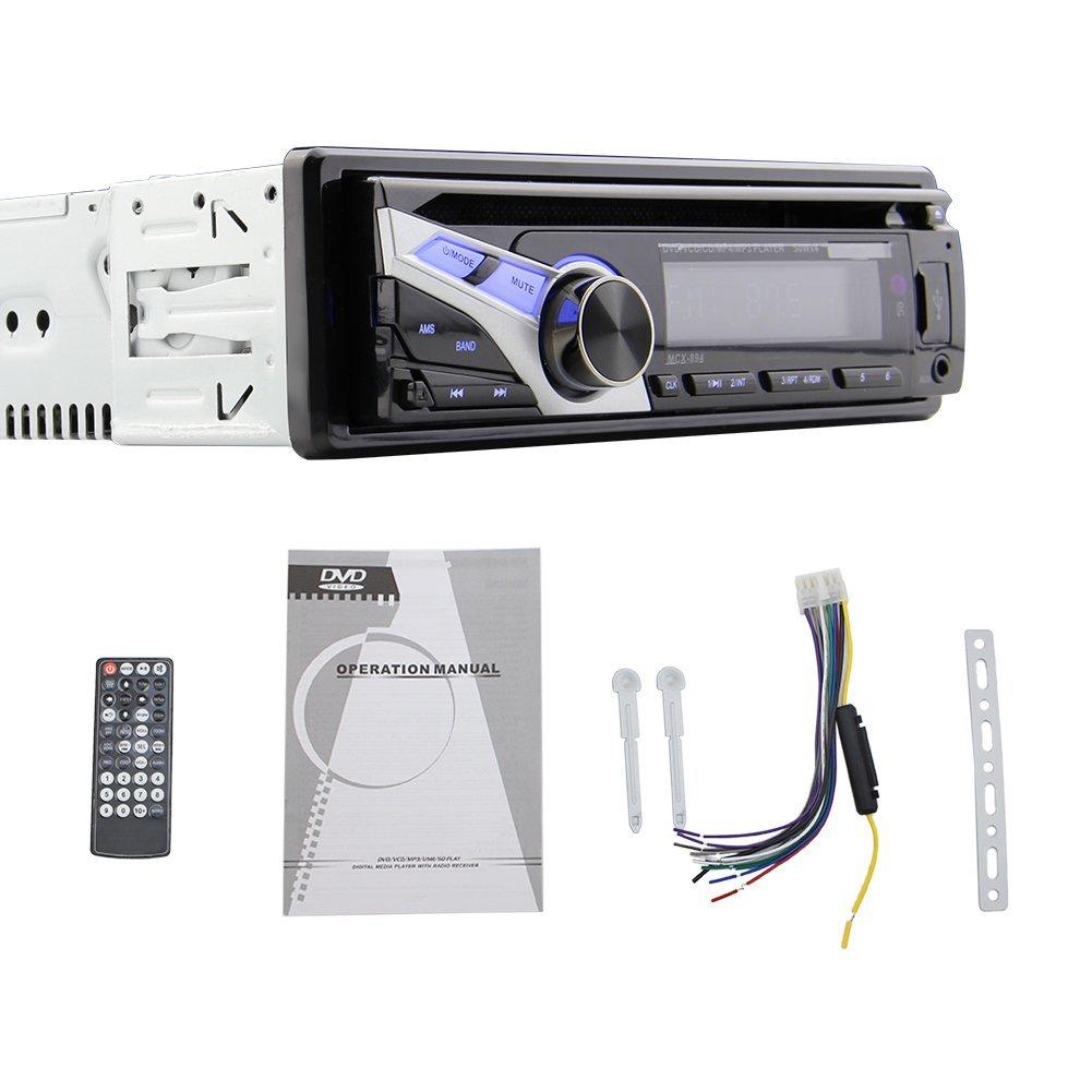 EinCar Universal fix panel Car Stereo In Dash CD/DVD/USB/SD/MMC Mp3 Player Auto Radio Stereo 1 Din Universal Car Automotive Auto Audio Stereo Headunit FM/AM receiver RCA Pre-output