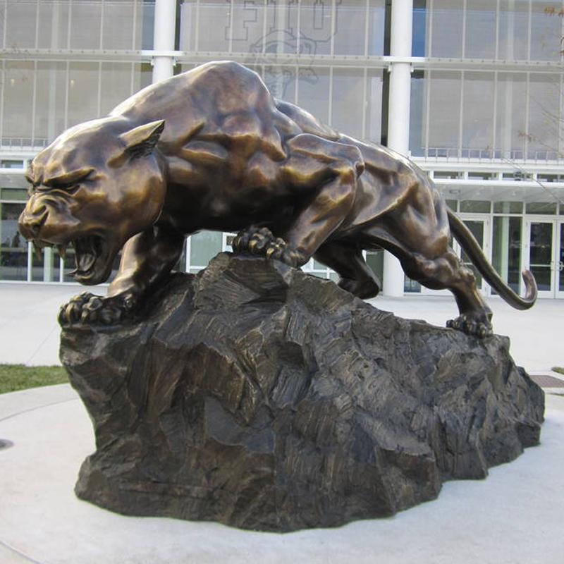 Outdoor Bronze Life Size Black Panther Statue Leopard Sculpture