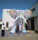 giant inflatable elephant with floral decoration, inflatable elephant balloon customization