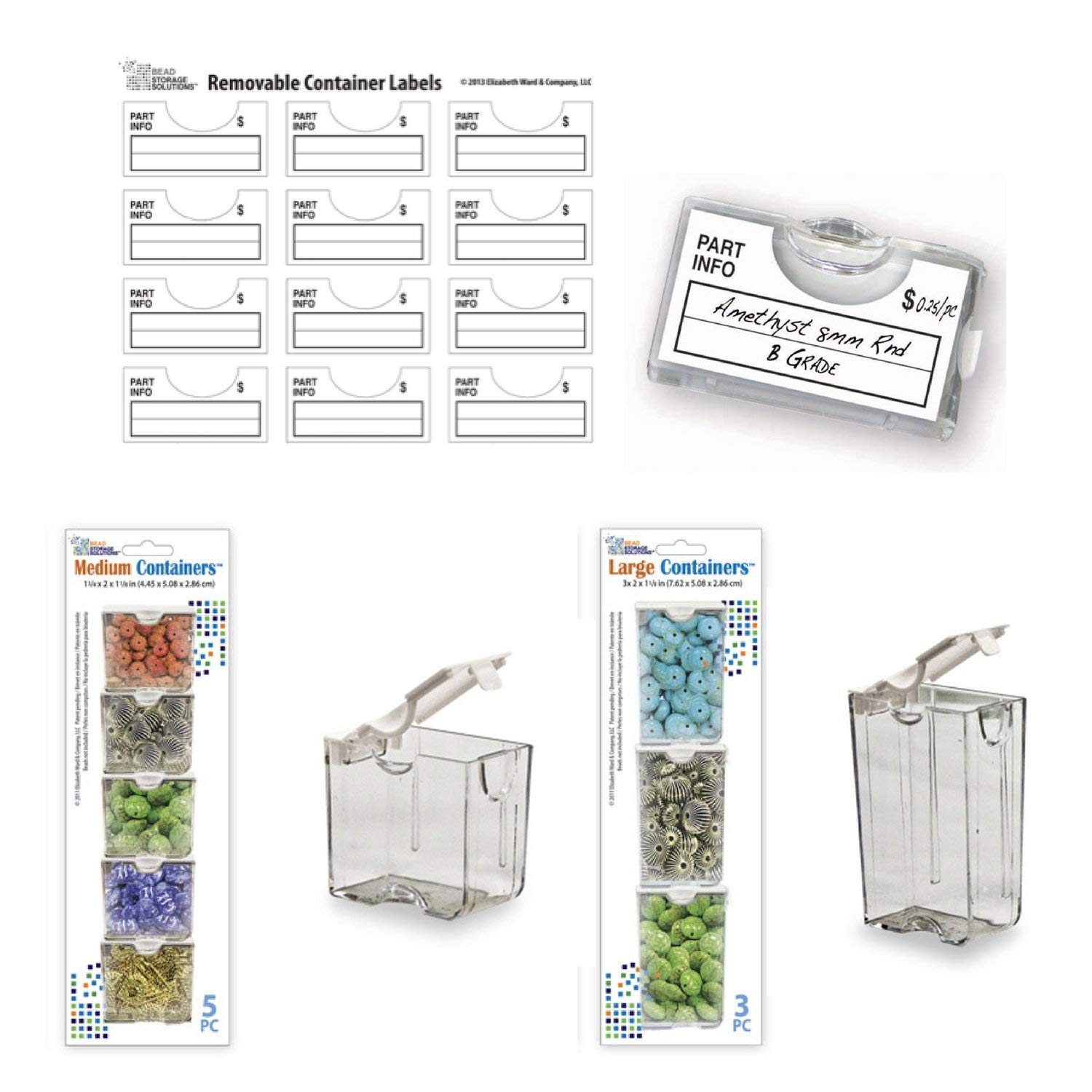 Bead Storage Container Bundle- Includes 3 Large Bead Storage Containers, 5 Medium Storage Containers and 96 Bead Storage Container Labels.