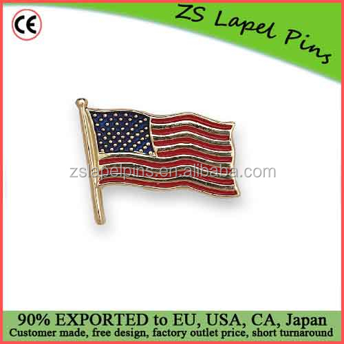 Free artwork design 14k Yellow or White Gold Enamel American Flag Lapel Pin