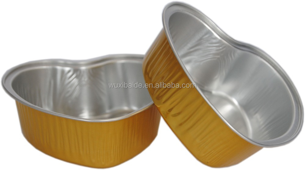 heart-shaped aluminum foil container for baking custom aluminum cupcake container