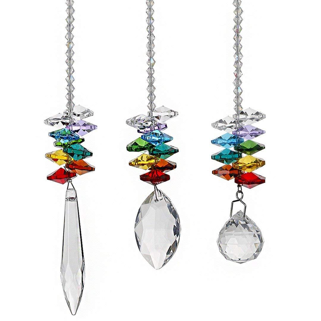 FLZS 3Pcs/Set Crystal Ball Pendant Accessories Colorful Octagonal Hanging Drop Pendant Suncatcher Parts Wedding Home Decor
