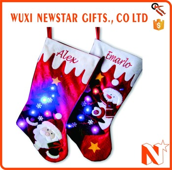 hot selling customized led light christmas sock