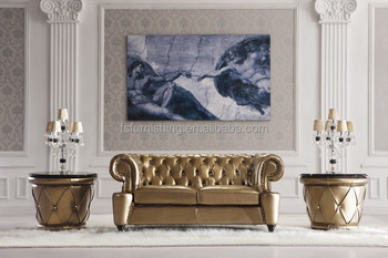 Ls168 Luxury Gold White Metal Leather Crystal On Modern Neolcic Living Room Chesterfield