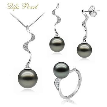 Wholesale Fashion Jewelry Tihitian Black Pearl Set Designs In 18k