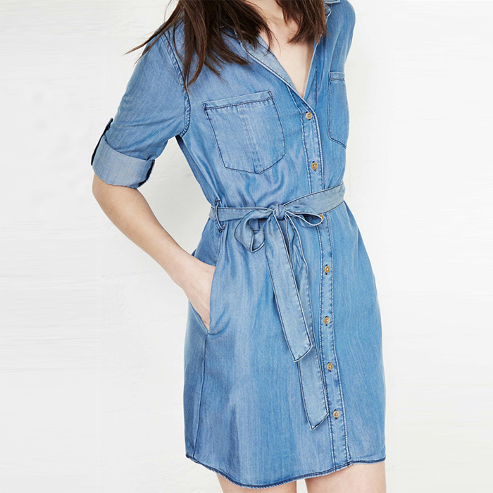 ad07c2852a Get Quotations · Vestidos Femininos Summer Style Bowknot Belt Long Sleeve  Denim Dress Plus Size Clothing Tunic Waist Women