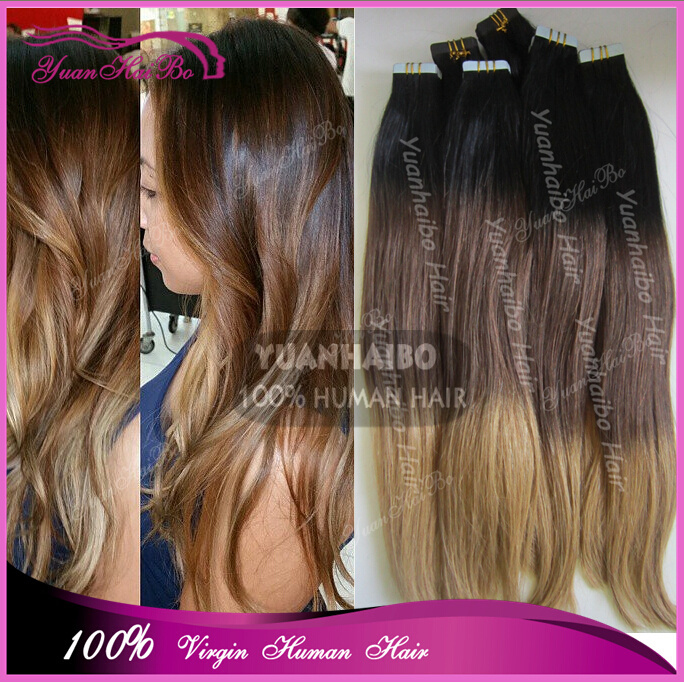 New Arrival Ombre Three Tone Color Invisible Cheap Russian Hair Skin Weft Extension Adhesive Tape