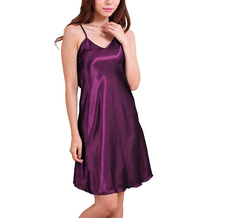 ab37add4eb Get Quotations · swimstore Fashion Women Clothes Night Deep V Silk Nightgowns  Sleepwear Sleepshirts Robes