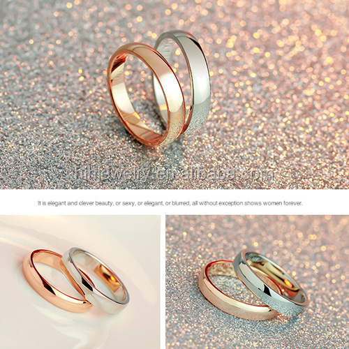 Simple Wedding Ring Sets Gold Plated Rings Without Stones Classic Plain Engagement  Ring