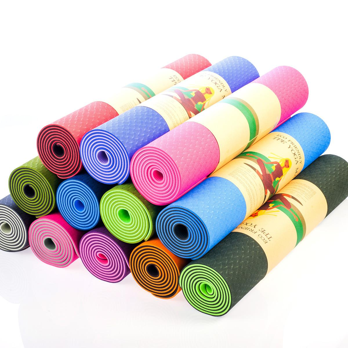 1-10mm Custom Rubber, TPE Dubbele Laag Dropship Anti-slip Yoga Mat met band