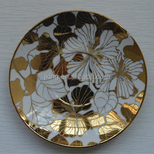 High quality electroplate ceramic dinner plate with gold rim