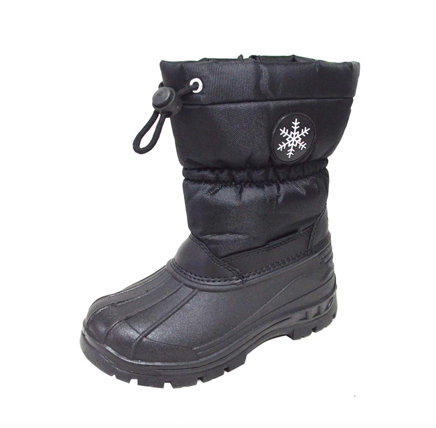 Happy Bull Winter Snow Boots for Kids Girls Boys Black Water Resistant Insulated Cold Weather Shoes (BABY1/3)