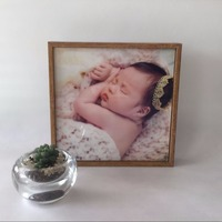 Newborn baby's first year footprint photo frame
