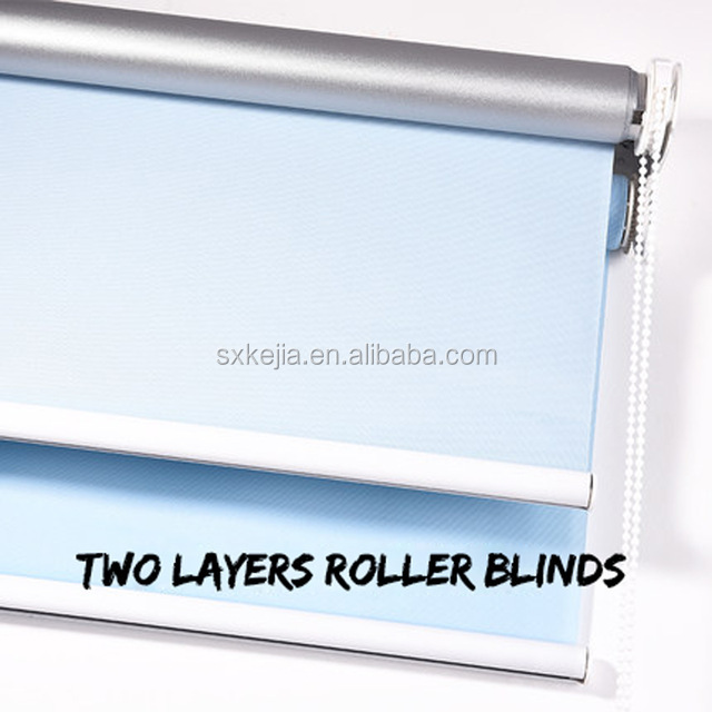 Heat insulation double vision retractable dual roller blinds