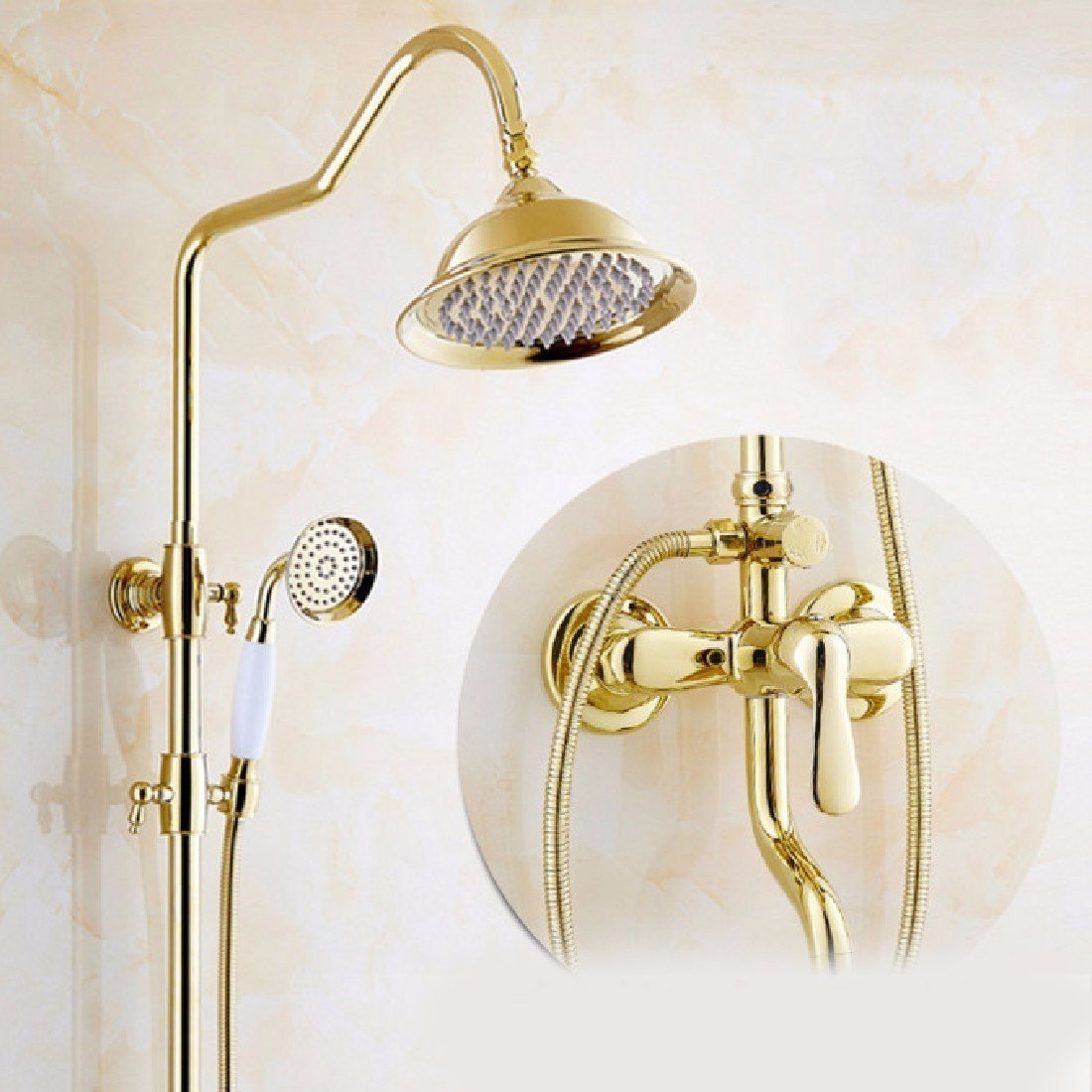 Bathroom Fixtures Cold And Hot Mixer Faucet Shower Tap Set Bathroom Antique Sprinkler Suit All Copper Vintage Antique Bronze Shower Faucet Shower Faucets