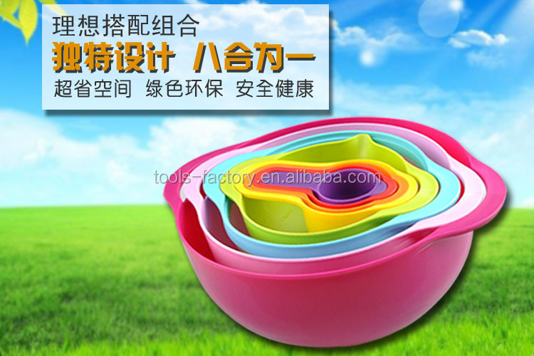 8 piece Mixing Bowl Set,Food Prep and Measuring Set/Compact Food Preparation Set Rainbow Nested Mixing Bowls Measuring Cups