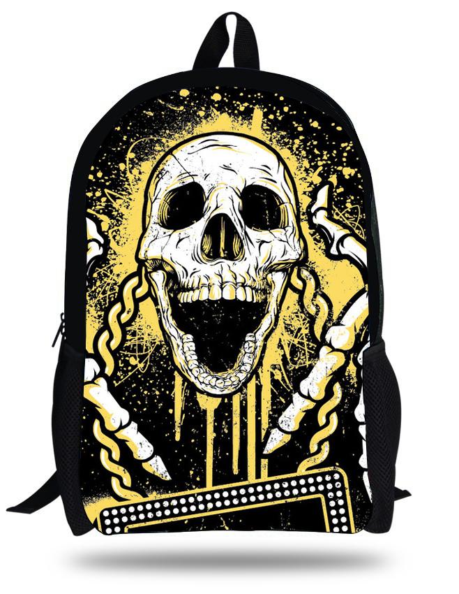 Get Quotations · Cool 16-inch Skull Heads Skeleton Bags Children School  Backpacks For Boys Black Skull Bags ef9be19b901b6