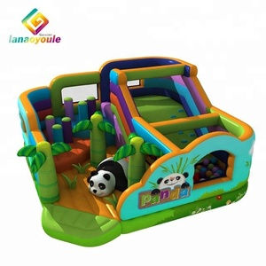 LANAO 2018 new design products PVC 8.5*8.5*4m inflatable sports game adults and kids land inflatable obstacle course