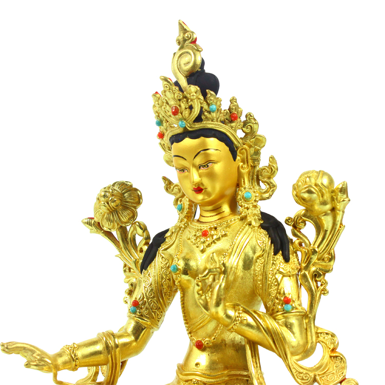 Tibetan Buddhism Tara Bronze Buddha Statue Collectible Dorje Blessings Deity Gold Plated Buddha Statue
