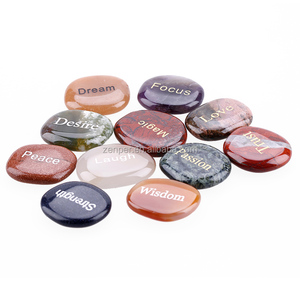 Wholesale words engraved 7 chakra stone set,engraved names stone