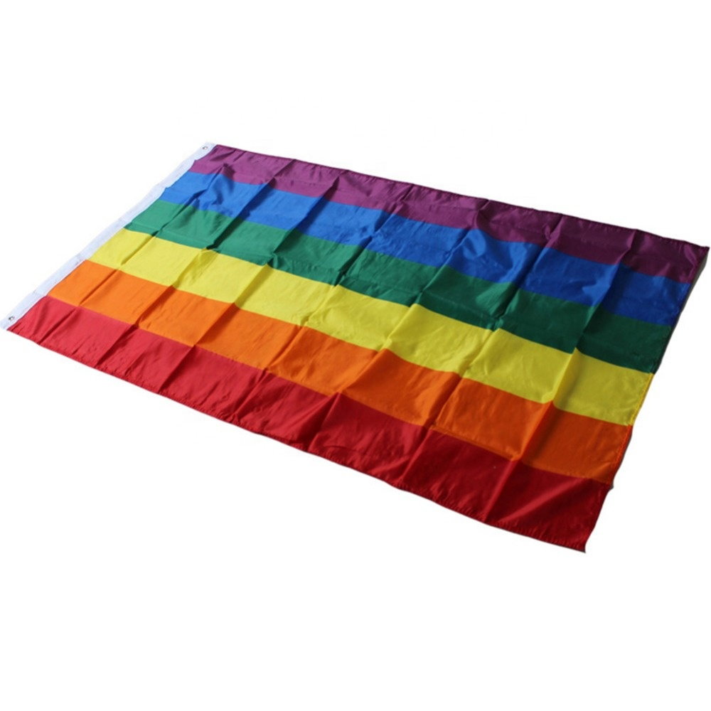 factory wholesale 90*150cm gay pride <strong>banner</strong> 3*5ft polyester <strong>printing</strong> rainbow flag fabric