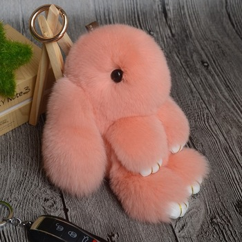 2017 Hot Mini 13CM Rabbit Keychain Fur Pom Pom Bunny Key Chain Women Toy  Doll Bag 37eb236d4