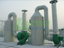 Spray tower for waste gas treatment and per-filtration or multiple grade filtration