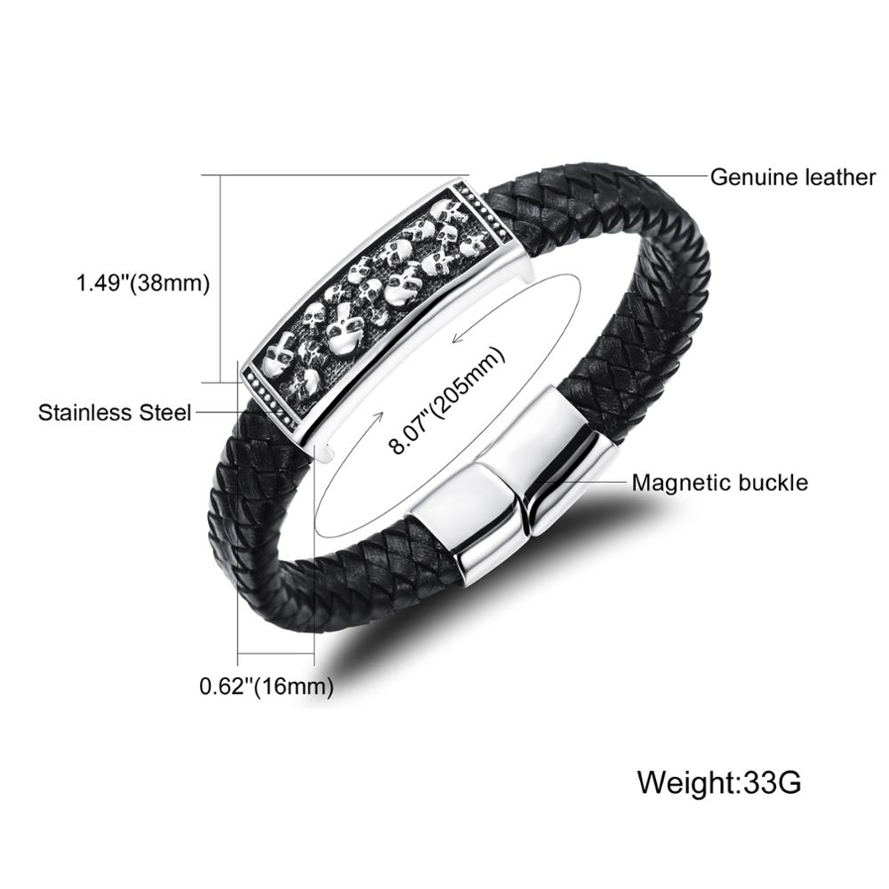 New Products 2018 Stainless Steel Skull Charm Punk Braided Leather Bracelet For Men