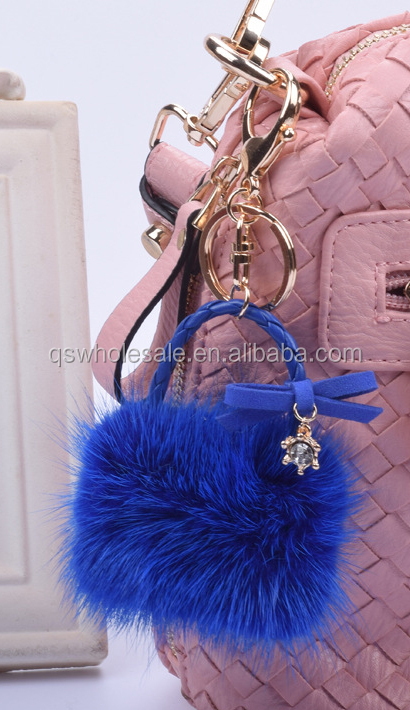 Mink bag key chain, 2016 fashion key ring, animal fur keyring