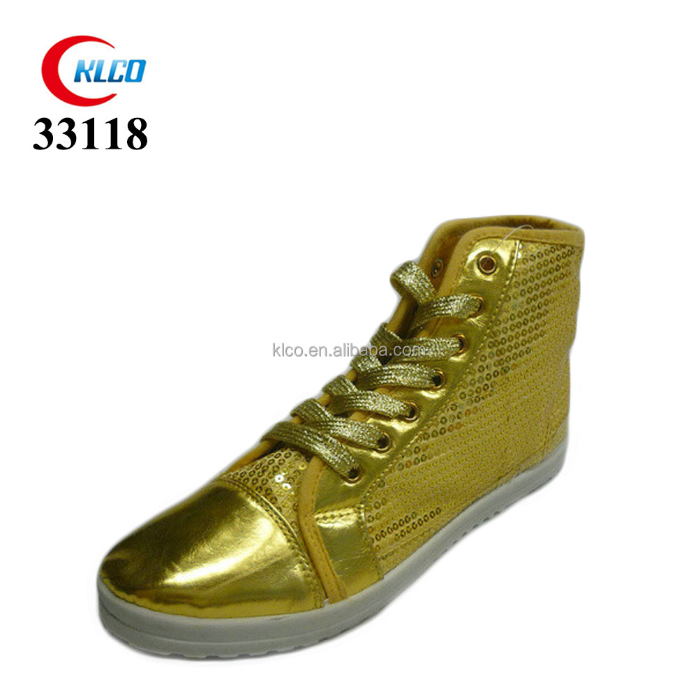 cheap wholesale gold sequins high top shoes women