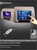 9'' Super TFT LCD DVD headrest car monitor headrest manufacturers with Touch Screen