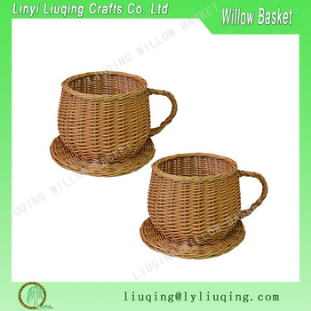 Factory Wholesale Set Of 2 Honey Wicker Cup & Saucer Flower Herb ...