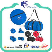 Wellpromotion cheap custom size cylinder barrel collapsible foldable travel carry bag