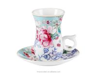 Cheap Turkish Style Bulk Coffee Tea Cups Saucers Porcelain Custom Printed Arabic China Tea Cups Wholesale