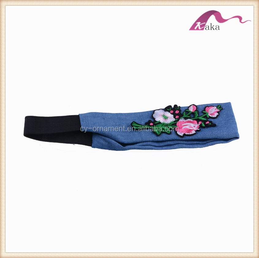 Fashion Blue Fabric Beautiful Embroidery Flower Headband Hairband Hair Accessory Ornament for Woman