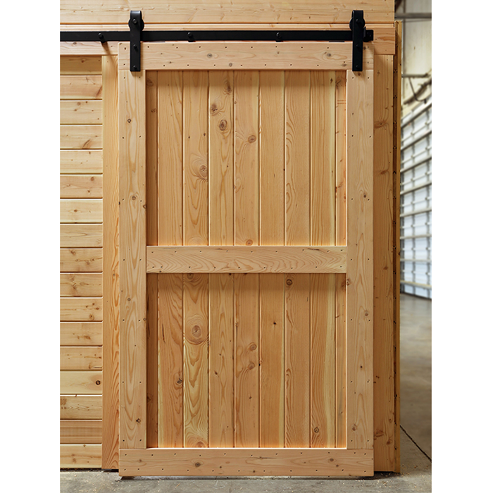 36 X84 Two Panel Unfinished Knotty Pine Interior Wood Barn Door Slab With Bronze Sliding Hardware