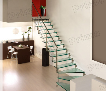House Straight Stair/new Style Straight Stairs/indoor Glass Tread Glass  Railing Staircase