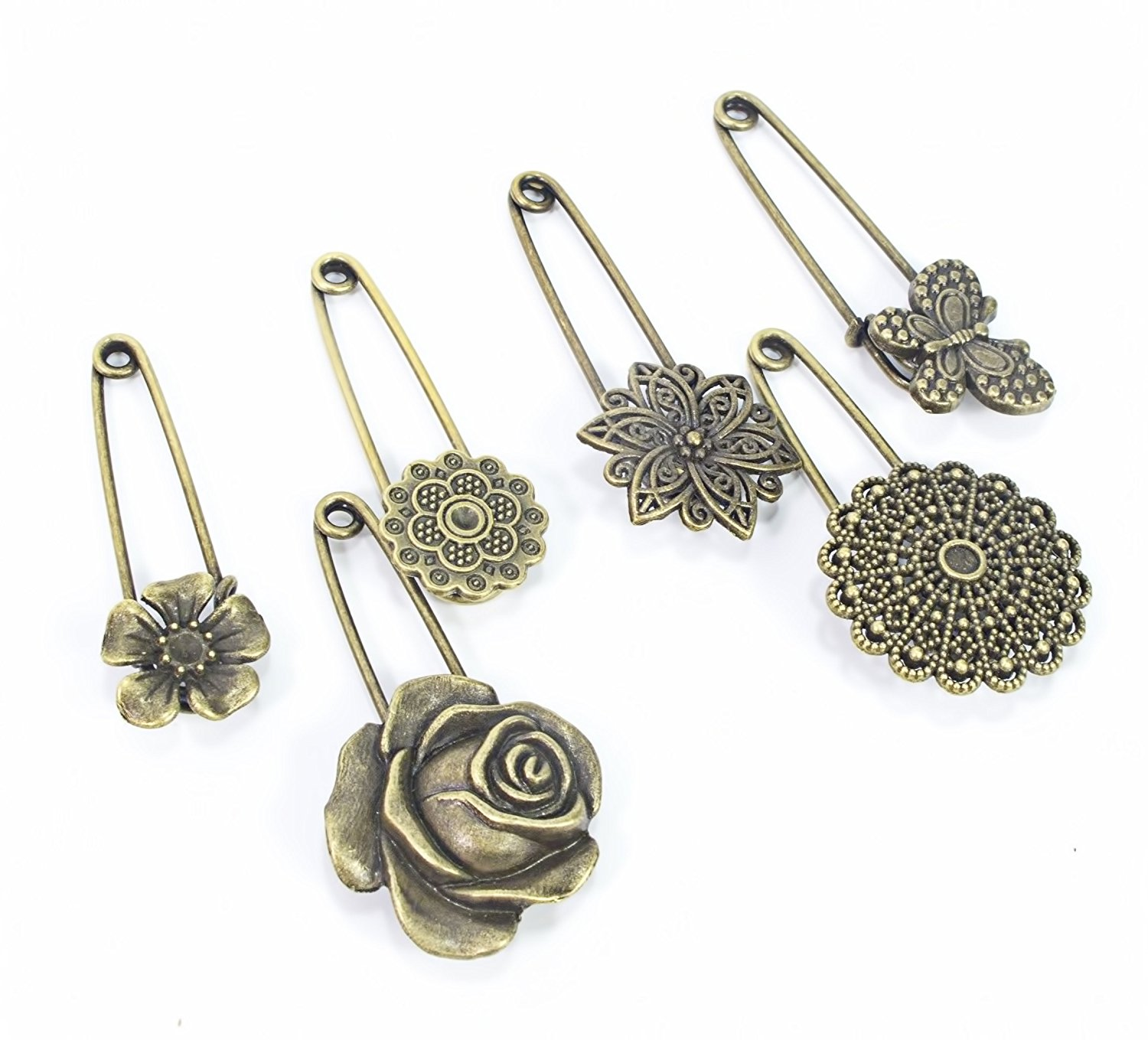 1d58fe687 Get Quotations · ALL in ONE 6pcs Assorted Bronze Vintage Brooch Pin Hijab  Pin Safety Pin