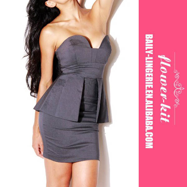 Gorgeous Tailored Sexy Gray Full Line Bandeau Fit Long Peplum Dress