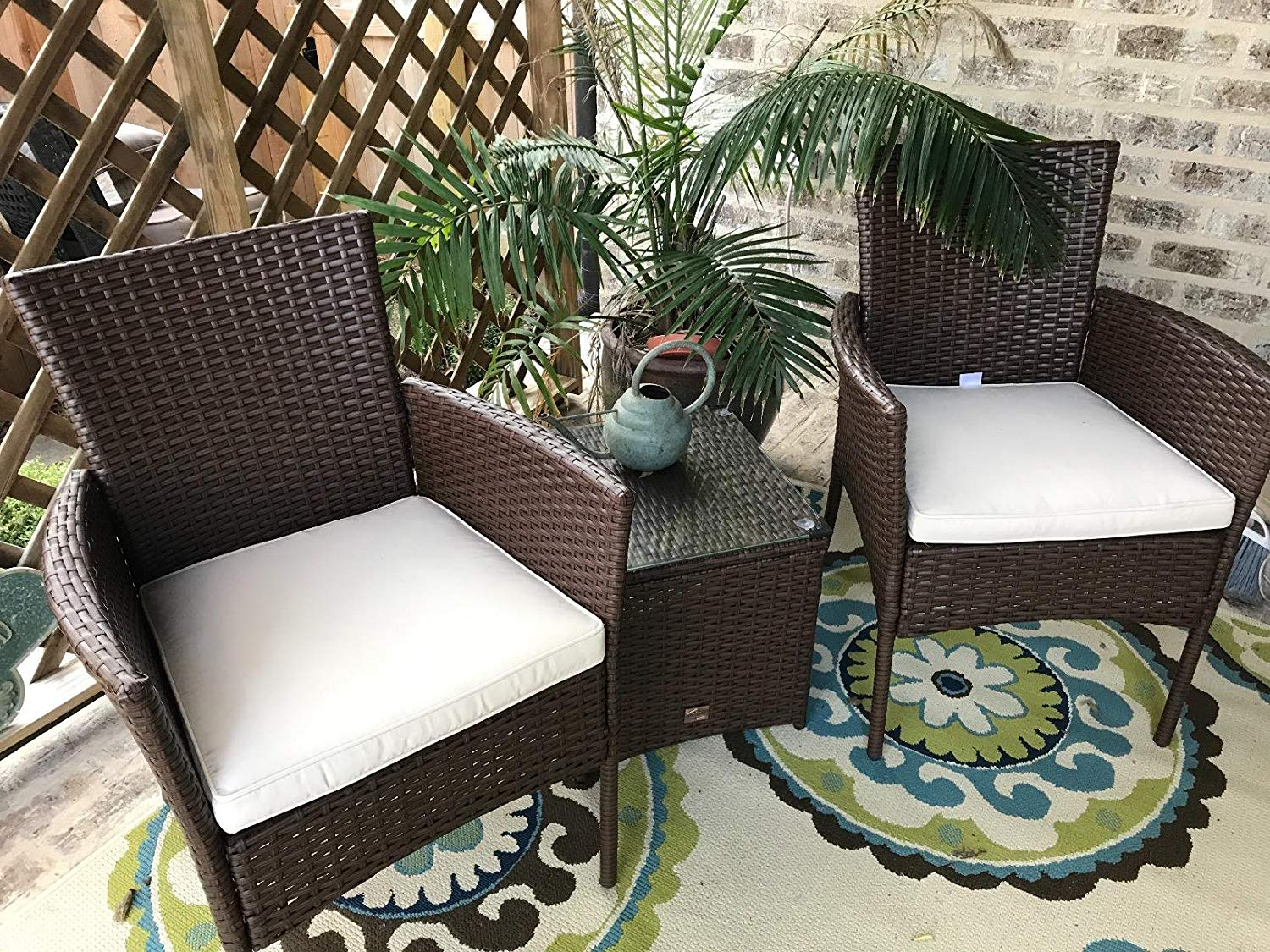 Cloud Mountain Patio Furniture 3 Piece Wicker Rattan Outdoor Bistro Set BrownKhaki Patio Table and Chair Set Comfortable Modern Easy Assembly Patio Lawn Garden Backyard Pool with Cushions