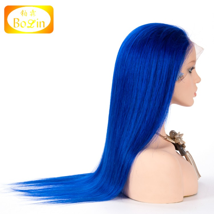 9A Mink Brazilian full lace human Hair Wig Blue Silky Straight 130% Density Swiss Lace Brazilian Hair Full Lace Wig