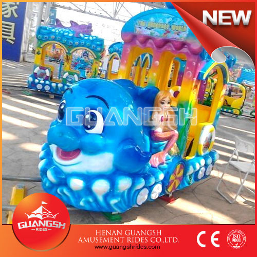 Outdoor plaza kids amusement rides mini electric train musical play train