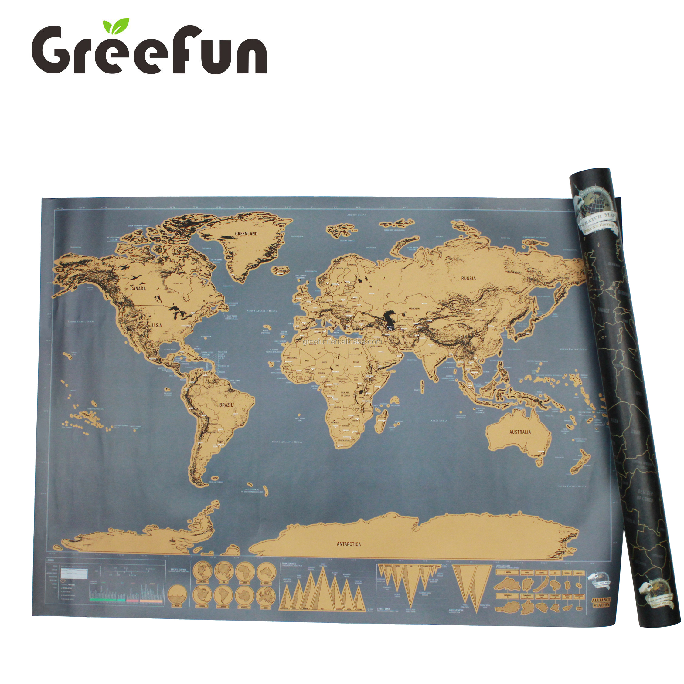 Detailed Cartography Scratch Off Travel Map Gifts Decoration Large