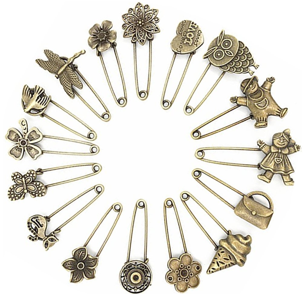 622a24c58 Get Quotations · Ancefine 16 Pcs Antique Bronze Hijab Pins/Safety Pins/Brooch  Pins