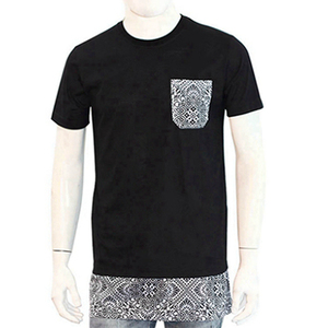 Custom Made Basic Man Black Printed O-Neck Pocket Tshirt