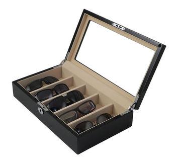 Gloss Black Luxury Wooden Sunglasses Case Eyeglass Storage Eyewear Display  Box