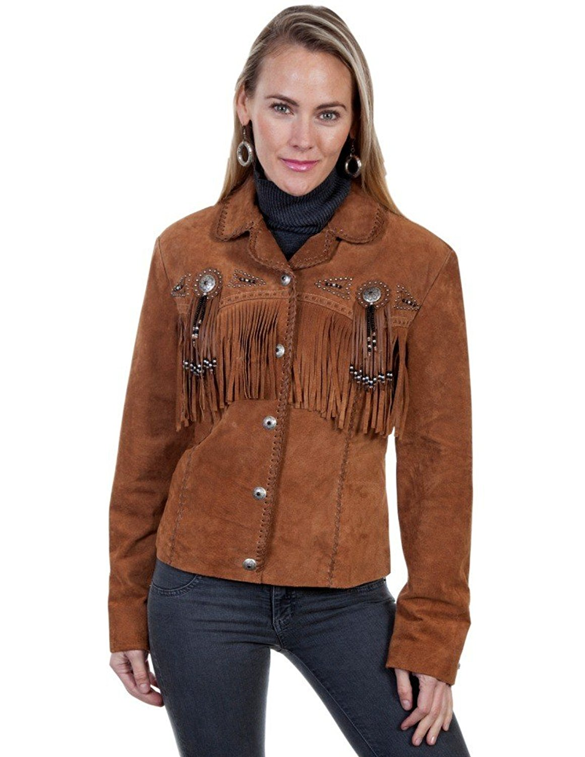 c1b70cce Get Quotations · Scully Western Jacket Womens Leather Fringe 1X Cinnamon  L152