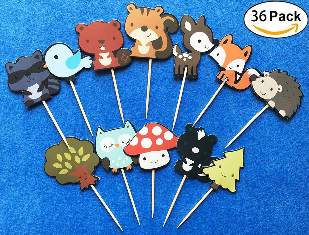 36-pack Cute Woodland Creatures Cupcake Toppers Picks, Woodland Animal Friends Cake Toppers, Kids Woodland Theme Baby Shower Birthday Party Cake Decoration Supplies.